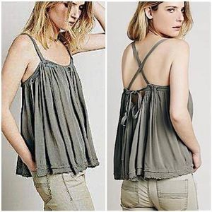 Free People Waiting For You Black Trapeze Tank